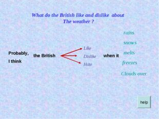 What do the British like and dislike about The weather ? ? Probably, I think