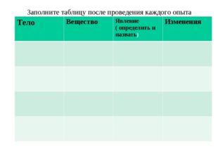 Заполните таблицу после проведения каждого опыта Тело Вещество Явление ( оп