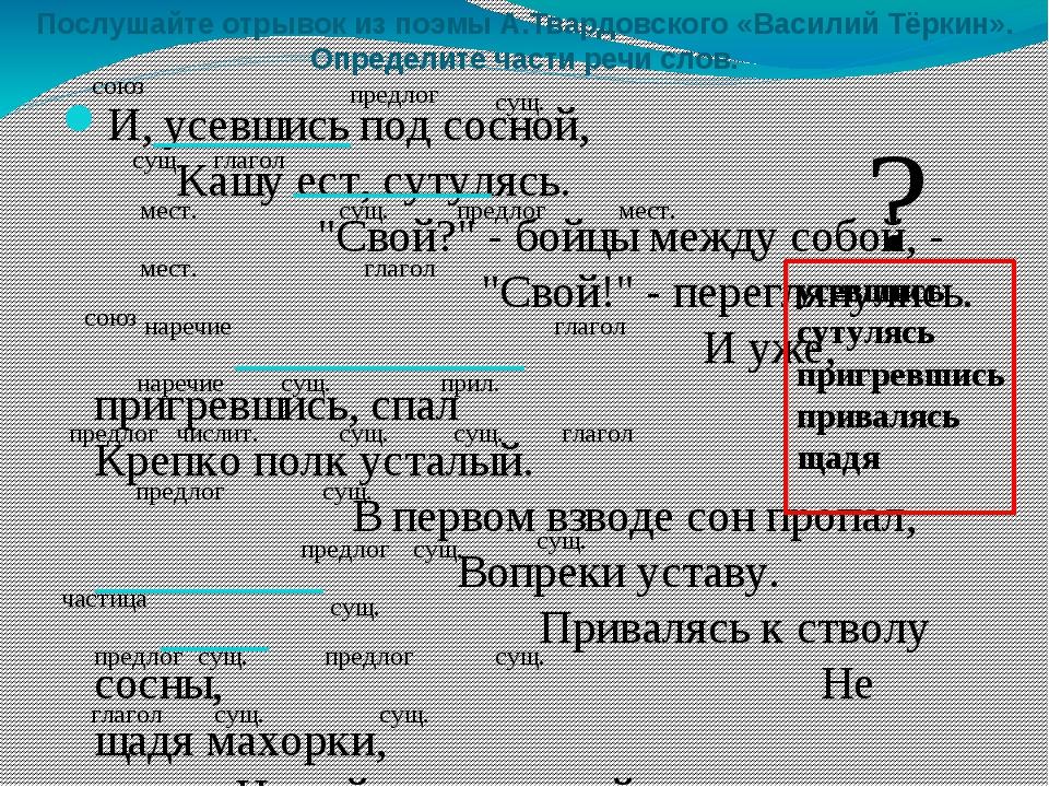 Послушайте отрывок из поэмы А.Твардовского «Василий Тёркин». Определите части...