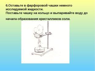 6.Оставьте в фарфоровой чашки немного исследуемой жидкости. Поставьте чашку н
