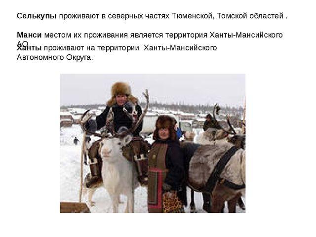 Селькупы проживают в северных частях Тюменской, Томской областей . Манси мест...