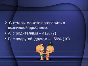 2. С кем вы можете поговорить о возникшей проблеме: А. с родителями – 41% (7)