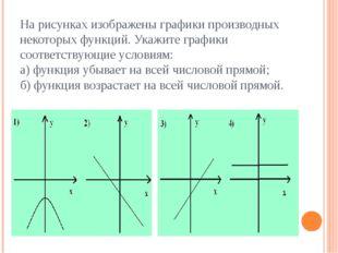 На рисунках изображены графики производных некоторых функций. Укажите графики