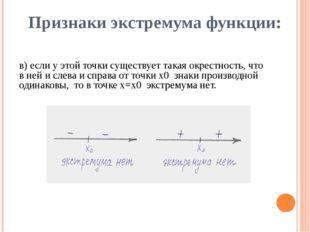 Признаки экстремума функции: в) если у этой точки существует такая окрестност