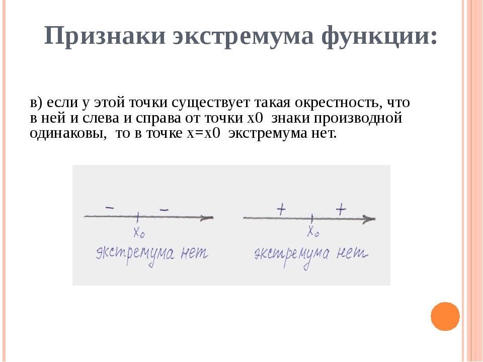 Признаки экстремума функции: в) если у этой точки существует такая окрестност...