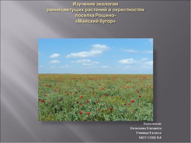 Выполнила: Колоскова Елизавета Ученица 9 класса МОУ СОШ №9