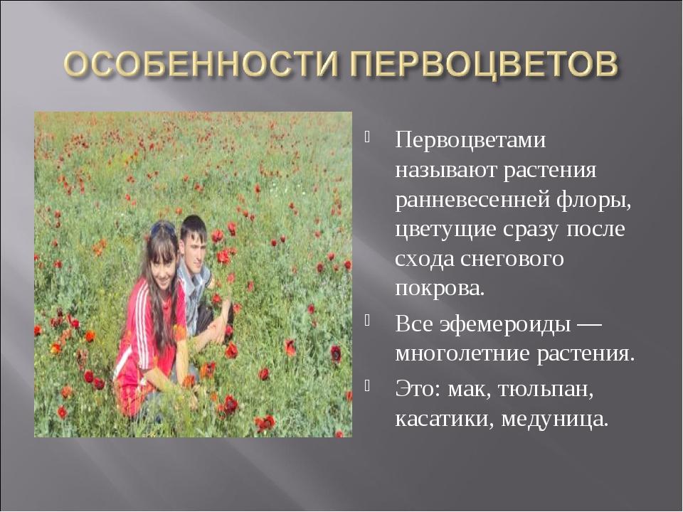Первоцветами называют растения ранневесенней флоры, цветущие сразу после сход...