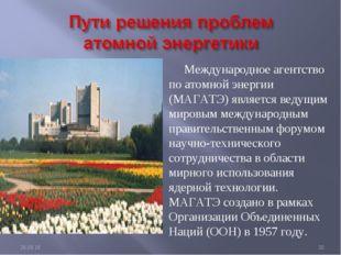 Международное агентство по атомной энергии (МАГАТЭ) является ведущим мировым