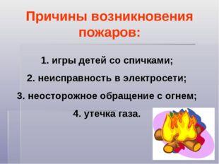 Причины возникновения пожаров: игры детей со спичками; неисправность в электр