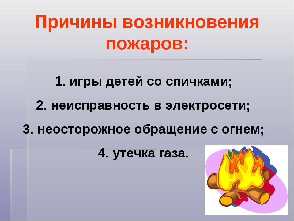 Причины возникновения пожаров: игры детей со спичками; неисправность в электр...