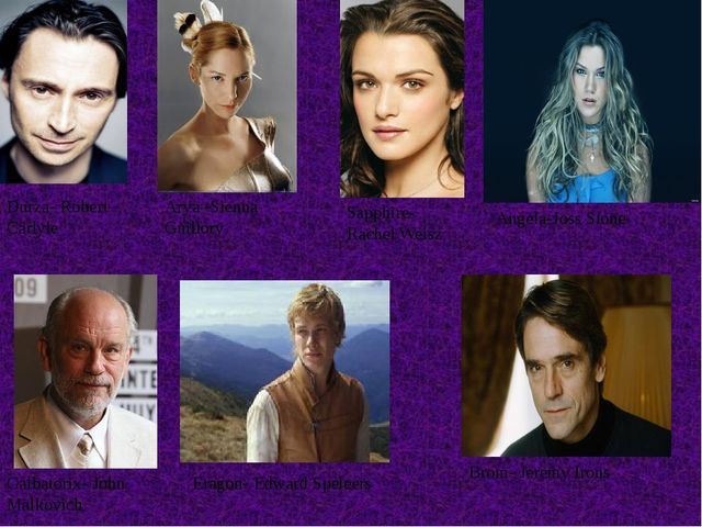 Brom- Jeremy Irons Eragon- Edward Speleers Galbatorix- John Malkovich Durza-...