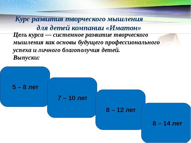 Курс развития творческого мышления для детей компании «Иматон» www.themegalle...