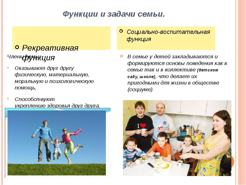Функции и задачи семьи. Члены семьи Оказывают друг другу физическую,материал...