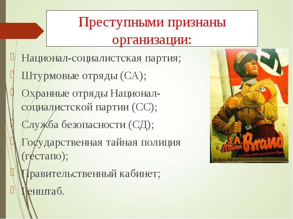 Преступными признаны организации: Национал-социалистская партия; Штурмовые от...