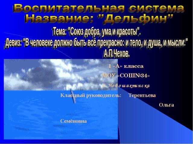 1 «А» класса МОУ «СОШ№34» Г. Новошахтинска Классный руководитель: Терентьева...