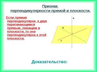 Если прямая перпендикулярна к двум пересекающимся прямым, лежащим в плоскост