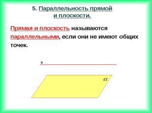 Прямая и плоскость называются параллельными, если они не имеют общих точек.
