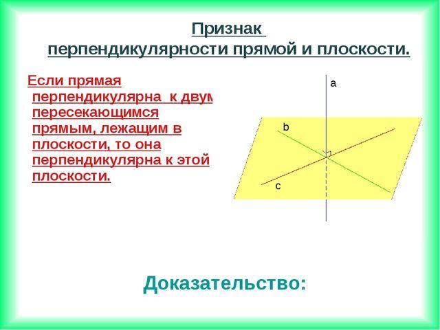 Если прямая перпендикулярна к двум пересекающимся прямым, лежащим в плоскост...