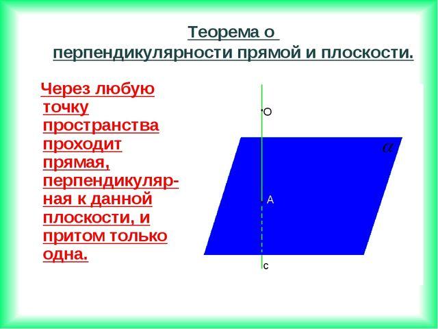 Через любую точку пространства проходит прямая, перпендикуляр-ная к данной п...