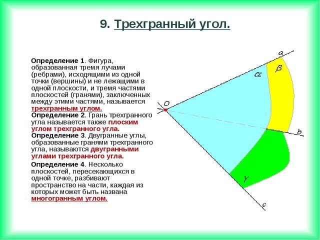 Определение 1. Фигура, образованная тремя лучами (ребрами), исходящими из од...