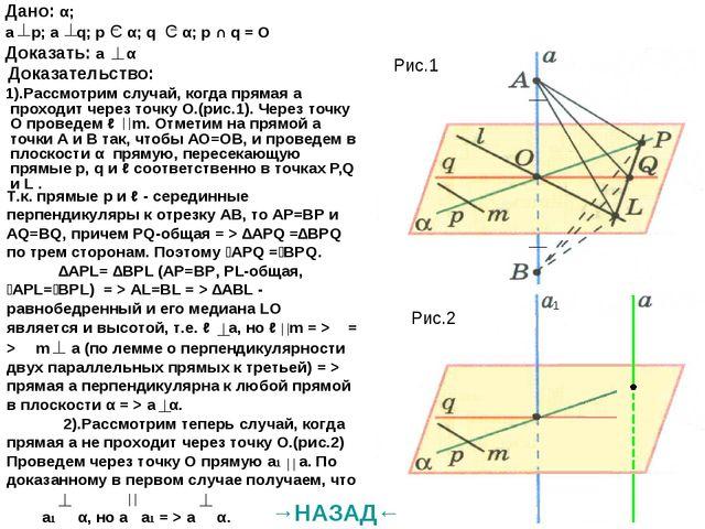 Дано: α; а р; а q; р С α; q C α; р ∩ q = О Доказать: a α Доказательство: 1)....