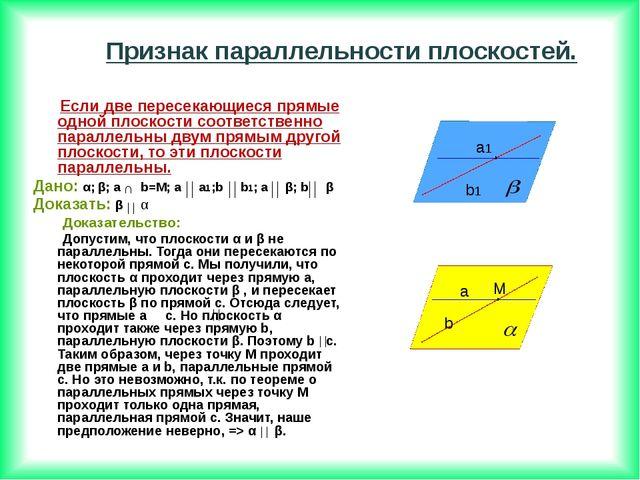 Если две пересекающиеся прямые одной плоскости соответственно параллельны дв...