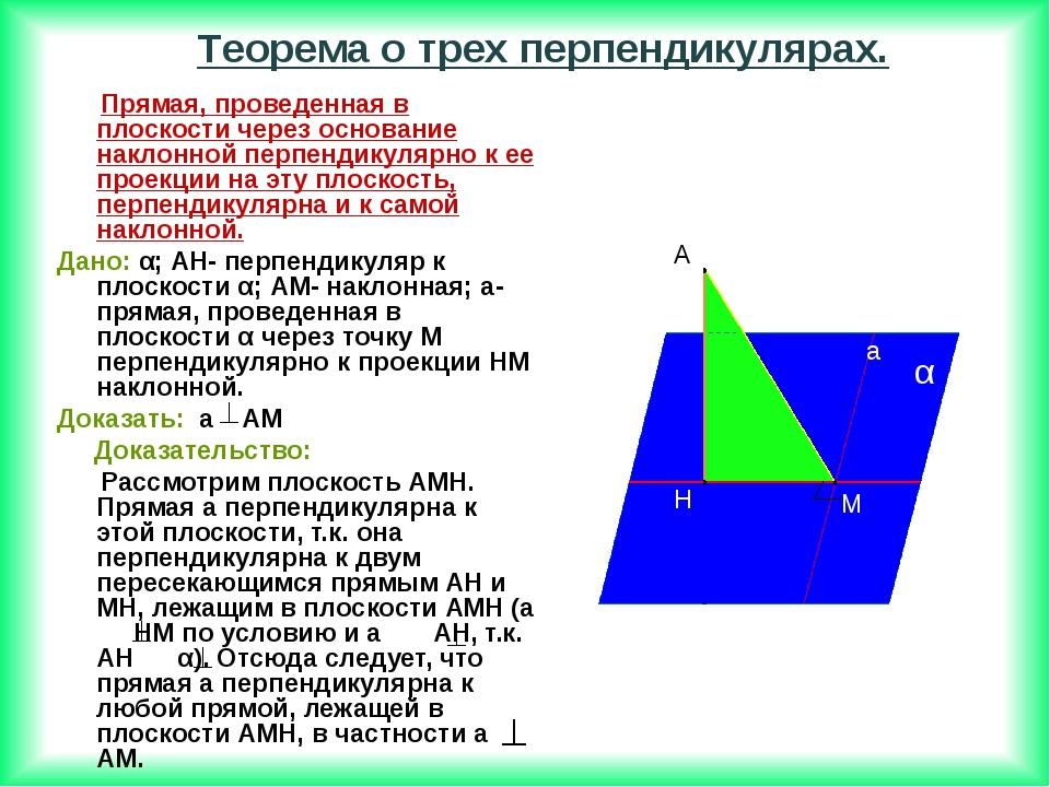 Прямая, проведенная в плоскости через основание наклонной перпендикулярно к...