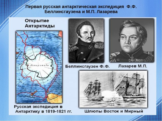 Первая русская антарктическая экспедиция Ф.Ф. Беллинсгаузена и М.П. Лазарева