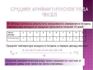 В таблице записаны результаты ежедневного измерения в полдень температуры воз