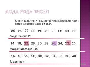 Модой ряда чисел называется число, наиболее часто встречающееся в данном ряду