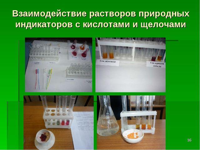 Взаимодействие растворов природных индикаторов с кислотами и щелочами *
