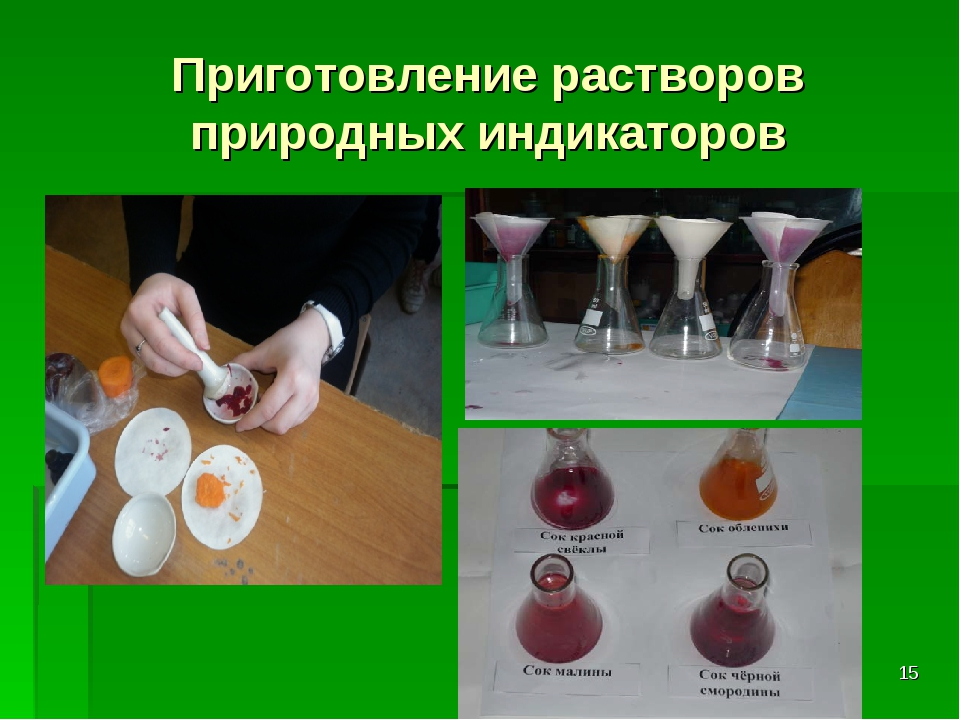 Приготовление растворов природных индикаторов *