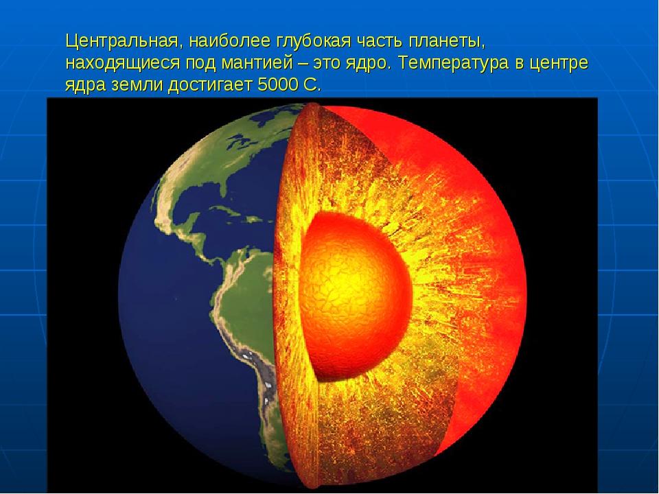 Центральная, наиболее глубокая часть планеты, находящиеся под мантией – это я...