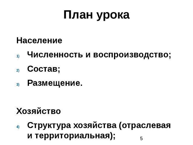 План урока Население Численность и воспроизводство; Состав; Размещение. Хозяй...