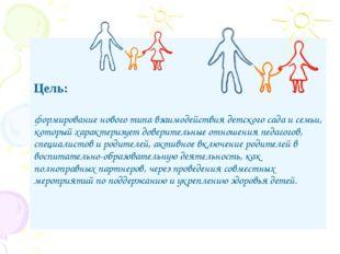 Цель: формирование нового типа взаимодействия детского сада и семьи, который