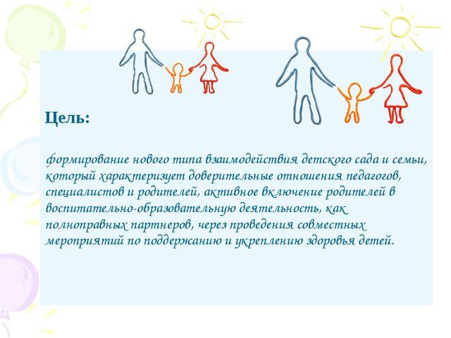 Цель: формирование нового типа взаимодействия детского сада и семьи, который...