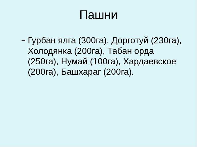 Пашни Гурбан ялга (300га), Дорготуй (230га), Холодянка (200га), Табан орда (2...