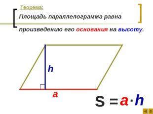 Площадь параллелограмма равна произведению его основания на высоту. а h S = а