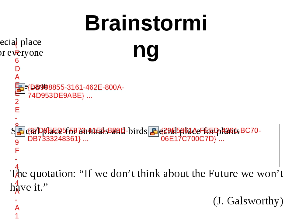 "Brainstorming The quotation: ""If we don't think about the Future we won't hav..."