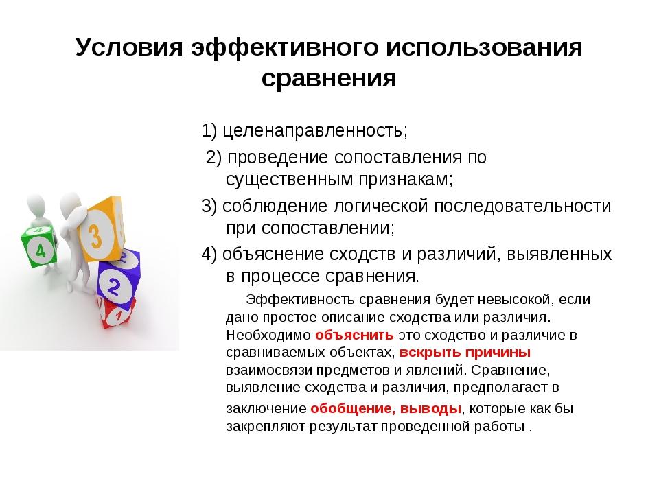 Условия эффективного использования сравнения 1) целенаправленность; 2) провед...