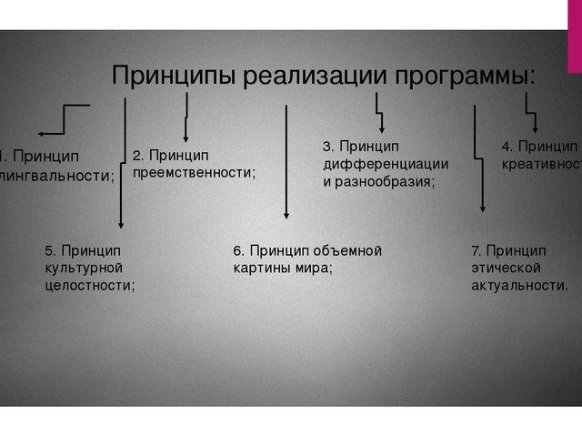 Принципы реализации программы: 1. Принцип полилингвальности; 2. Принцип преем...