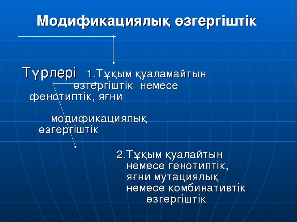 Модификациялық өзгергіштік Түрлері 1.Тұқым қуаламайтын  өзгергіштік немесе...