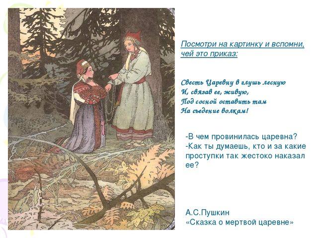 Посмотри на картинку и вспомни, чей это приказ: Свесть Царевну в глушь лесную...