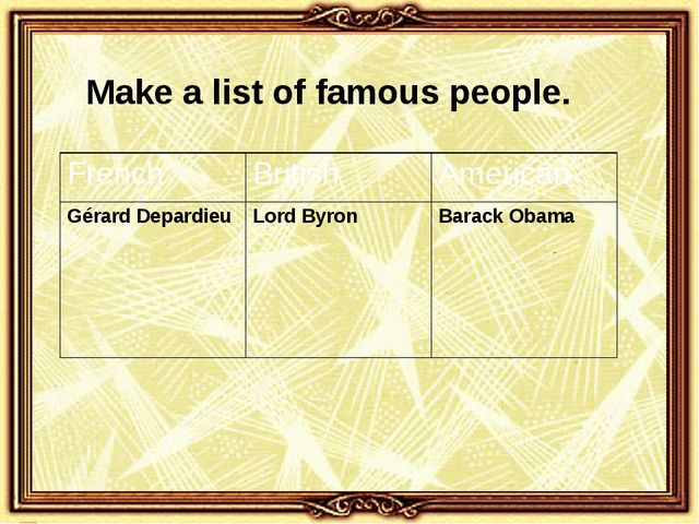 Make a list of famous people. French British American GérardDepardieu Lord By...