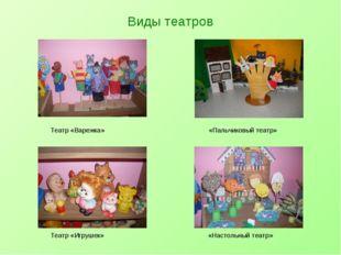 Виды театров Театр «Варежка» «Пальчиковый театр» Театр «Игрушек» «Настольный