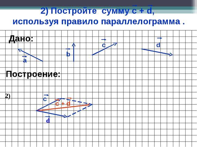 2) Постройте сумму с + d, используя правило параллелограмма . а b c Построени...