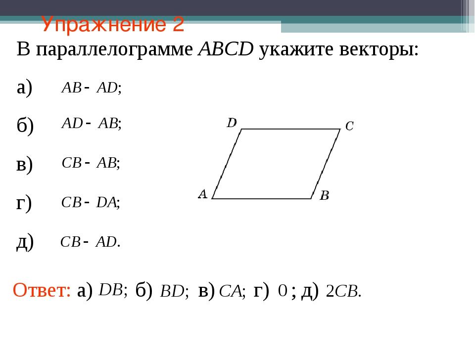 Упражнение 2 В параллелограмме АВСD укажите векторы: а) б) в) г) д)