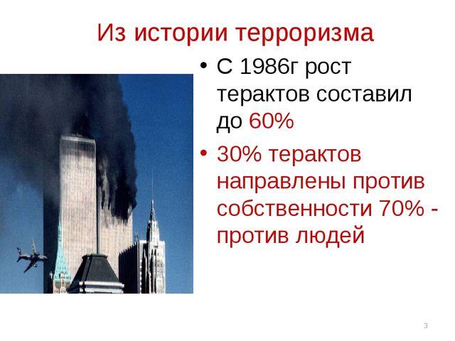 * Из истории терроризма С 1986г рост терактов составил до 60% 30% терактов н...