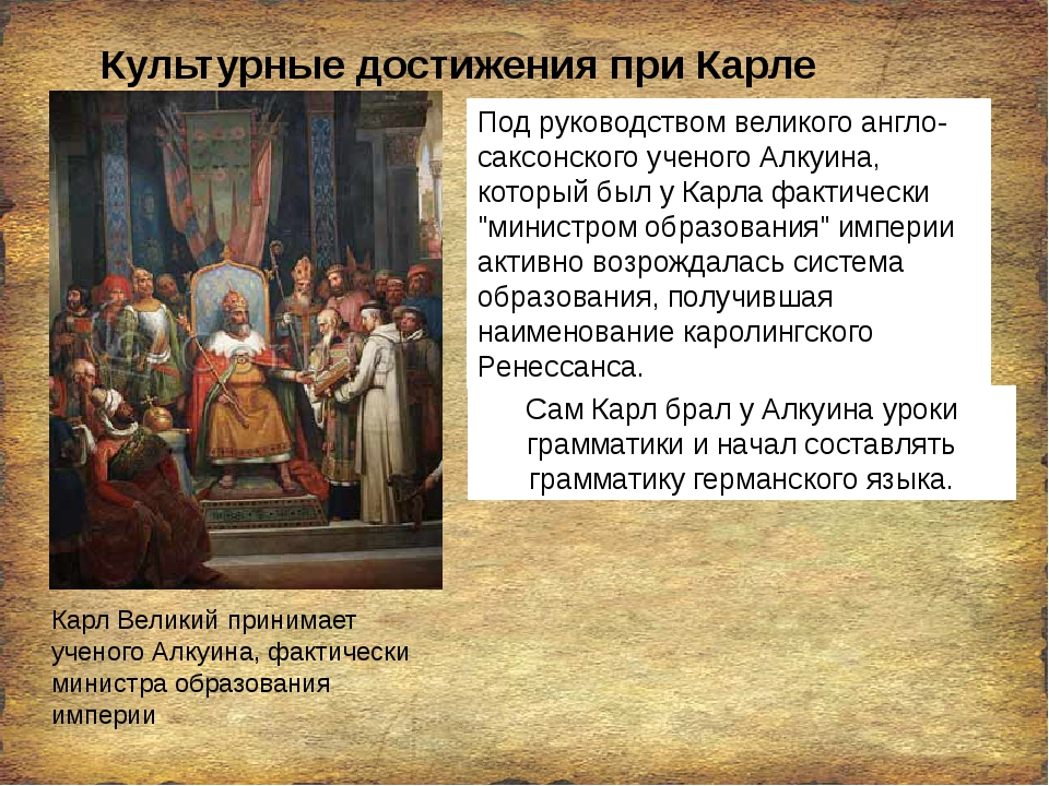Культурные достижения при Карле Великом Карл Великий принимает ученого Алкуин...