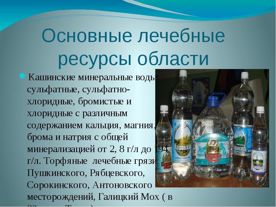 Основные лечебные ресурсыобласти Кашинские минеральные воды: сульфатные, сул...